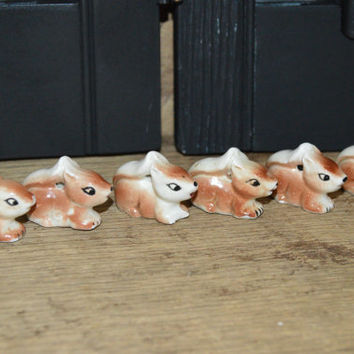 Miniature Ceramic Squirrel Set of 6 , Fairy House , Doll House
