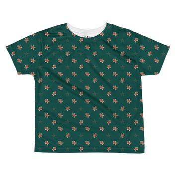 Gingerbread Man Christmas Holiday All-over kids sublimation T-shirt
