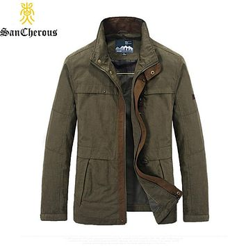 2019 Spring Autumn Stand Collar Man Casual Jacket 2 Color Cargo Jacket Outerwear Men Coat Size L-4XL