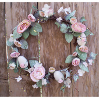 Easter decoration floral egg wreath vintage style shabby chic flower home decor Ostara