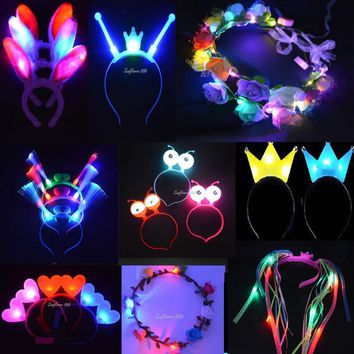 New Kids Adult Women Light Up Blinking Crown Flower LED Headband Wedding Cat Bunny Cosplay Glow Birthday Rave Party Christmas