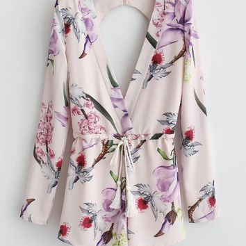 Streetstyle  Casual Deep V-Neck Drawstring Back Hole Floral Printed Long Sleeve Romper