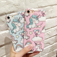Cute cartoon unicorn phone case for iPhone 7 7plus 6 6S 6plus 6Splus 1110J01