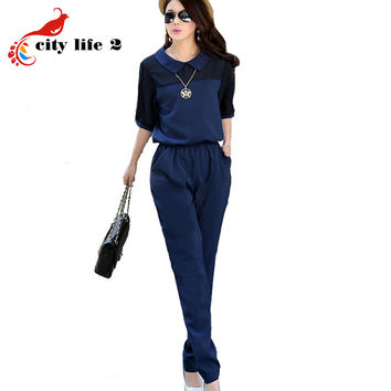 Large Size 3XL 4XL Summer Jumpsuits 2016 One Piece Pants Lapel Elegant Salopette Black Blue Long Trousers