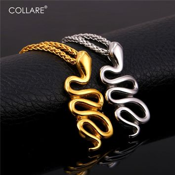 Gold and silver snake necklaces