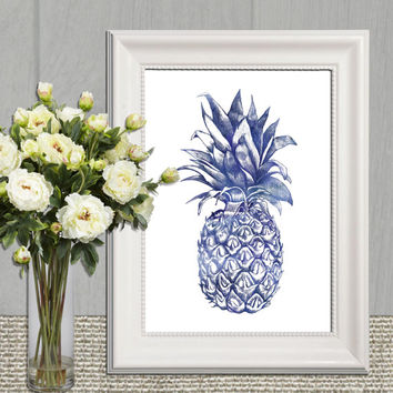 Navy Pineapple printable Large Kitchen wall art Blue Pineapple wall art decor Pineapple print Hospitality Poster art 16x20 8x10 5x7 DOWNLOAD