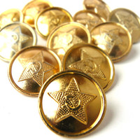 Vintage set of 12 Military Buttons, Soviet Army Buttons, Military Star Buttons Made in USSR 1970s. Vintage shiny gold tone buttons with star
