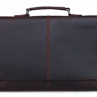 Minimalist Crazy Horse Leather Espresso Laptop Bag