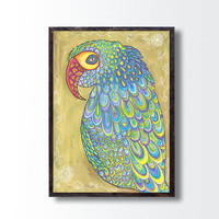 Golden Painting Wall decor Print, Parrot Drawing Print, Parrot Painting Illustration, Bird Animal Nature Art, Nursery wall decor, Boho gift