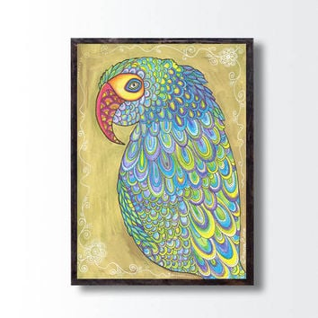 Golden Parrot Original Painting, Nursery Kids room Wall decor, Parrot Bird Drawing Illustration, Colorful painting Girlfriend Valentine gift
