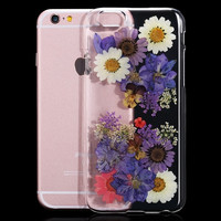 100 Real Flower Diy Handmade Dried Pressed Hard Clear Case For Iphone 6 6s 4 7inch For Iphone 6 Plus / 6s Plus 5 5inch Transparent Back Cover
