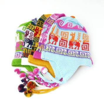 "10 Assorted ""Chullo"" Hats For Kids Beautiful Colors ( $ 3.8 Unit Price)"