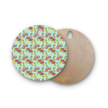"""Bruxamagica """"Cherry With Gold Dots Blue"""" Gold Blue Illustration Round Wooden Cutting Board"""