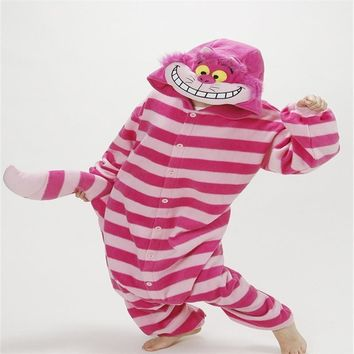 Winter New Sleepsuit Adult Spring Autumn Onesuits Cartoon Cheshire Cat Pajamas Unisex Women Men Pajama One Piece Cosplay Costumes