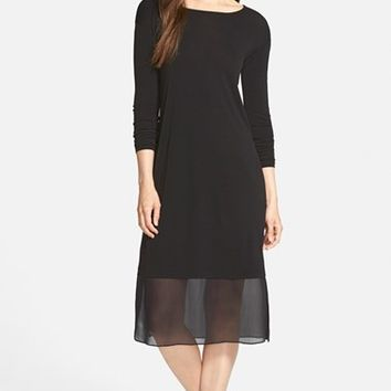 Women's Eileen Fisher Ballet Neck Silk Jersey Dress,