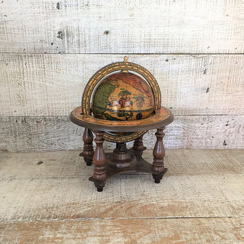 World Globe Small World Globe with Wood Stand Tabletop Globe Desk Globe Antique Astrological World Globe on Wooden Stand Made in Italy