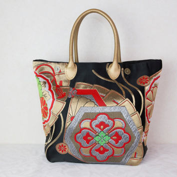 "Japanese Tote Bag ""Japanese Fan"" (Japanese Kimono Bag; Japanese Tote Bag; Japanese Bag Kimono Tote Bag; Gold tote bag, Japanese bag)"