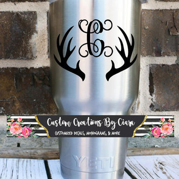 Antler Initial Decal -Hunting Decal - Yeti Decal - Custom Decal - Hunter Deer - Manly - Dad -  Antler Decal - Vinyl Decal - Men's Monogram