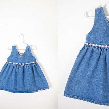 Vintage Denim Babydoll Dress / 80s Baby Dress / Toddler Girls Dress / Baby Girl Clothing / Retro Baby Clothes / 90s Grunge Dress / Blue Jean