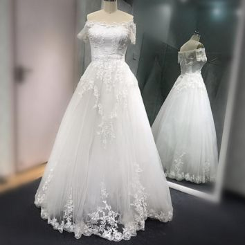 A line Short Sleeve Wedding Dress Floor Length Lace Appliqued