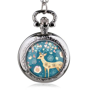 2017  Antique Pocket Watch With Chain Quartz Fob Watches Women Alice In Wonderland Necklace Pendant Retro Clock Gifts For Kids