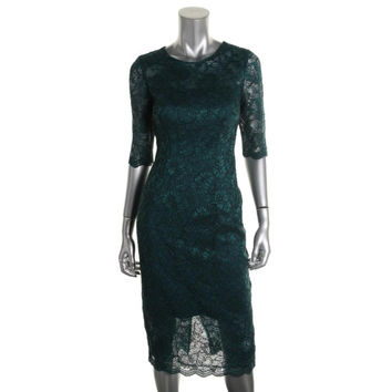Monique Lhuillier Womens Lace Overlay Elbow Sleeves Cocktail Dress