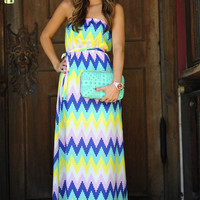 Chevron Me Crazy Maxi Dress: Multi | Hope's