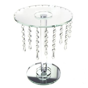 Round Glass Crystal Centerpiece with Strands, Clear, 12-3/4-Inch