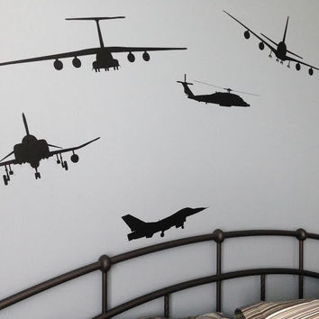 Black Airplane Wall Decals