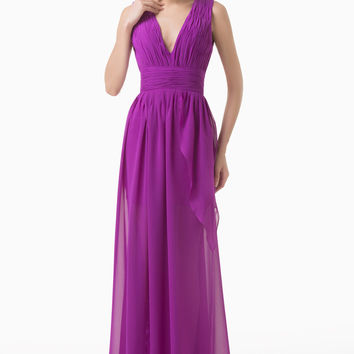 Purple Deep V-neck Empire Waist Slit Chiffon Maxi Dress