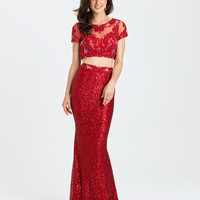 Madison James 16-406 Sequin Cap Sleeve Two Piece Prom Dress