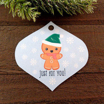 Kawaii Gingerbread Boy Christmas Gift Tags Cute Santa Cookie Tags for Gifts - Personalized Wording Available