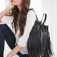 Fringed Faux Leather Backpack