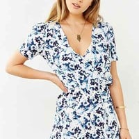 Oh My Love Blue Marble Short-Sleeve Romper - Urban Outfitters