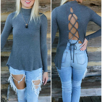 All Tied Up Gray Mock Neck Ribbed Sweater Tulip Top With Open Lace Up Back