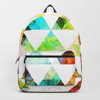 Funky Bright Triangles Backpack by Samantha Lynn