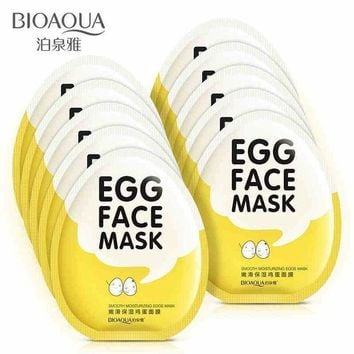 ac PEAPO2Q BIOAQUA Egg Facial Masks Oil Control Brighten Wrapped Mask Tender Moisturizing Face Mask  Skin Care moisturizing mask