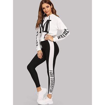 SHEINLetter Graphic Hoodie and Leggings Set