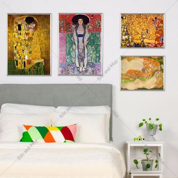 Gustav Klimt Kiss Classic Art Painting Canvas Art Print Poster Wall Pictures For Room Decorative Home Decor Silk Fabric No Frame