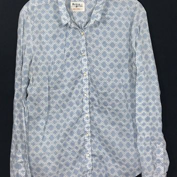 Anthropologie Holding Horses Button Shirt Aztec Tribal White Blue Womens 12 -Preowned
