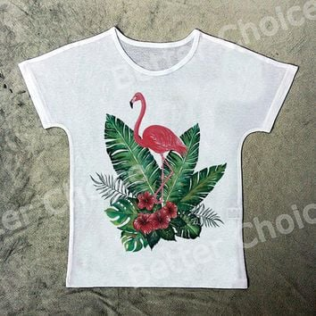 Track Ship+Vintage Retro Cool  T-shirt Top Tee Red Elegant Animal Flamingo in Forest Flower Leaf 1455