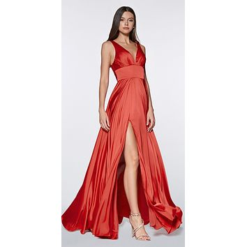 Cinderella Divine 7469 Sexy Long Prom Dress Red Evening Satin Gown