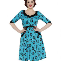 Voodoo Vixen Cats in the Rain Swing Dress Blue