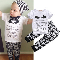 2PCS Set Newborn Toddler Kids Baby Boys Clothes Set Skull Outfits Clothes T-shirt Tops + Pants 2pcs Clothing