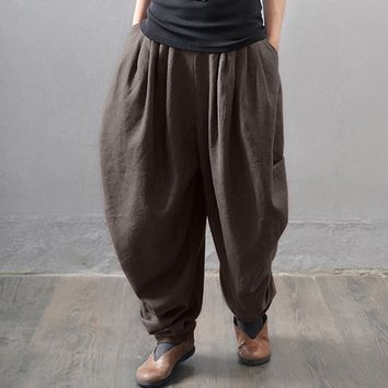 Women Elastic Waist Baggy Wide Leg Trousers Pockets Solid Cotton Linen