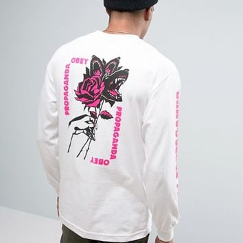 Obey Long Sleeve Tee With Floral Print at asos.com