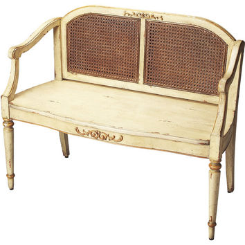 Antique Rustic Wood & Cane Entryway Bench - Cream