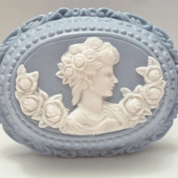 Vintage Wedgwood Blue JasperWare Trinket Jewelry  Box Cameo
