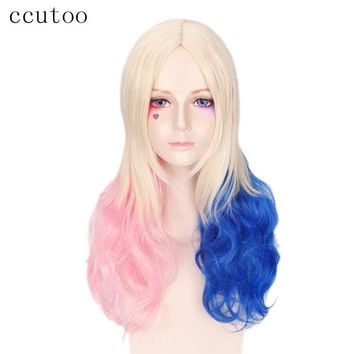 "ccutoo 28""Pink Blue Blonde Mix Harley Quinn Suicide Squad Batman Synthetic Wig Harleen Quinzel Cosplay Costume Wig Hair"