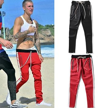 2017 new fashion 5 colors elastic waist mens and womens track pants ankle zip tapered sweatpants for men zipper pocket trouser